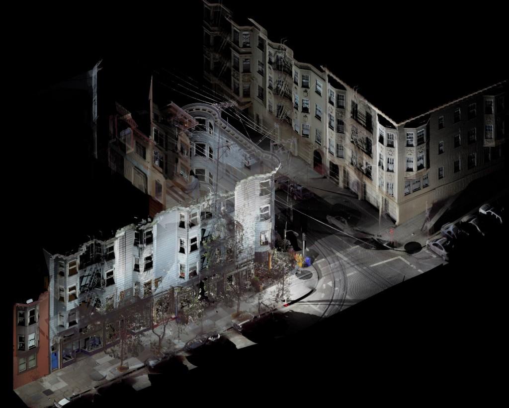 Résultat d'un scan 3D d'une rue