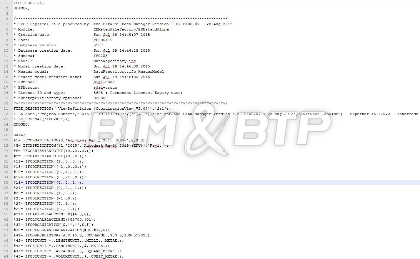 Capture d'écran de la même maquette au format IFC ouverte dans un éditeur de texte