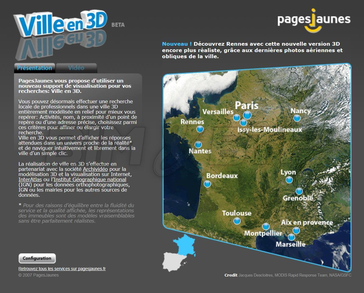 """Le site des Pages Jaunes """"Villes en 3D"""""""