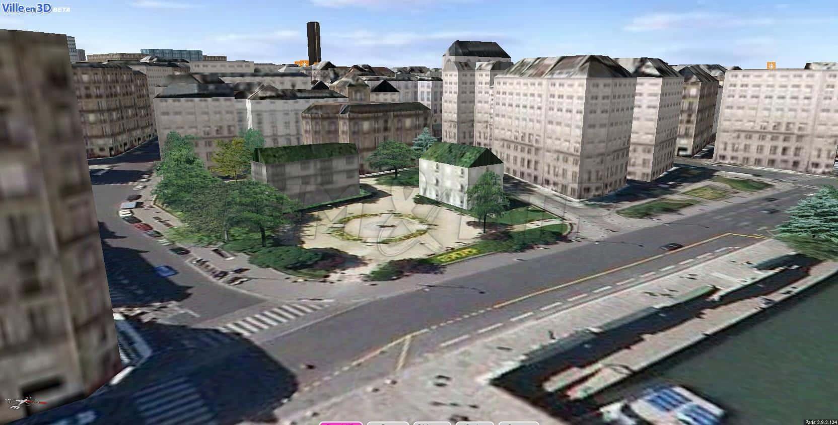 Une vue cadrée serrée de la maquette numérique de Paris