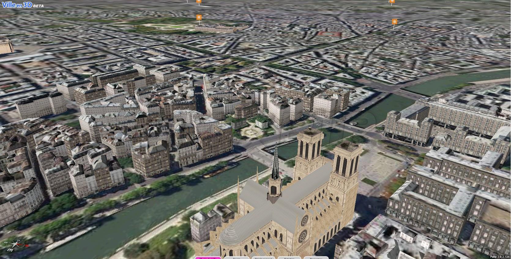 Une vue cadrée large de la maquette numérique de Paris
