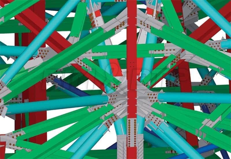 Un maillage de charpente métallique dans une maquette numérique